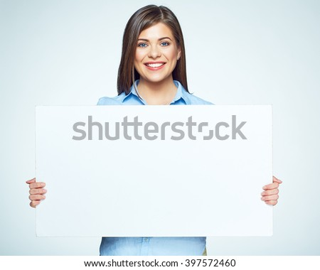 Sign board. Business woman holding big white card. Isolated portrait. - stock photo