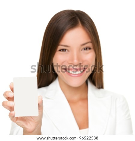 Sign card woman holding paper like mobile phone or smart phone. Empty paper business card with copy space. Beautiful young businesswoman smiling happy in white suit isolated on white background. - stock photo