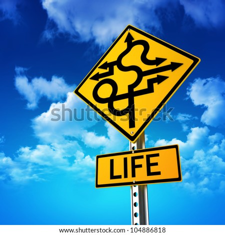 Sign concept symbolizing life is full of twists and turns with a sky background - stock photo
