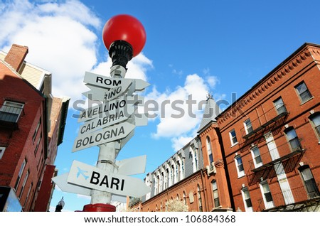 Sign depicting direction of different Italian Cities in the LIttle Italy section of the North End of Boston, Massachusetts, USA. - stock photo