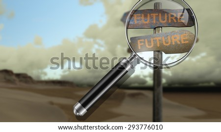 sign direction future-future made in 3d software - stock photo