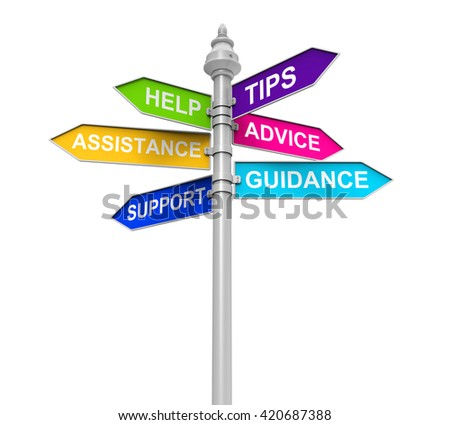 Sign Directions of Support, Help, Tips, Advice, Guidance and Assistance. 3D rendering - stock photo
