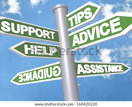 sign directions support help tips advice guidance assistance - stock photo