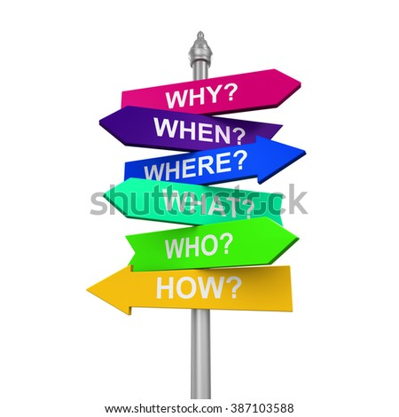 Sign Directions with Question Words - stock photo