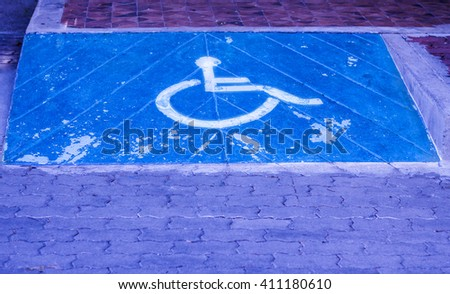 Sign disabled, Slope For the disabled - stock photo