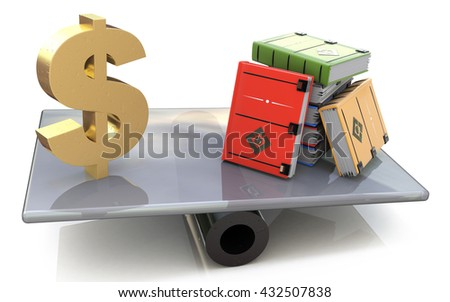 Sign dollar and the books on scales in the design of the information related to finances and knowledge. 3d illustration - stock photo