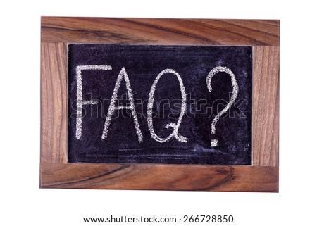Sign FAQ. Written in chalk. - stock photo
