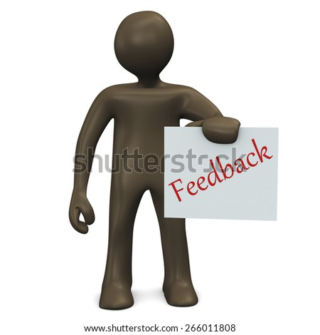 Sign, Feedback, 3d illustration with black cartoon character - stock photo