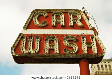 sign for a car wash - stock photo