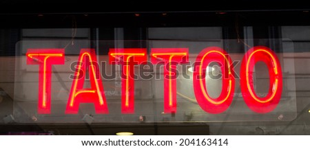 Sign for a Tattoo Parlour - stock photo