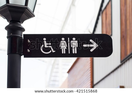 Sign for advertisement, restroom sign - stock photo