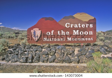 Sign for Craters of the Moon National Monument, Idaho