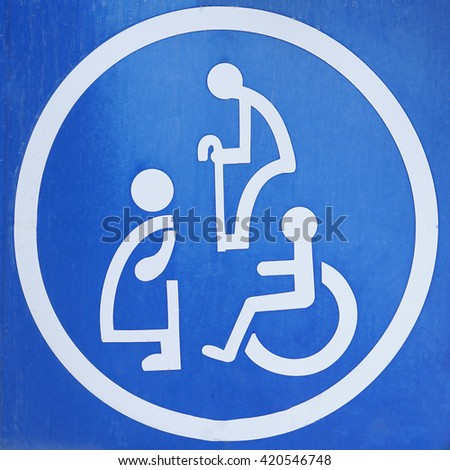 Sign for disabled parking. - stock photo