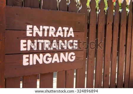 Sign for entrance                 - stock photo
