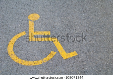 Sign for parking space reserved for disabled people - stock photo