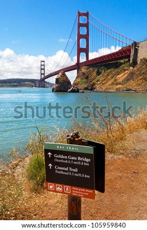 Sign for the Bay Trail at the Golden Gate Bridge, San Francisco - stock photo