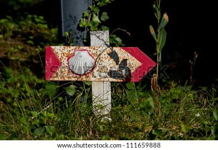 Sign for the pilgrim of Saint Jacques de Compostelle in Aubrac, France - stock photo