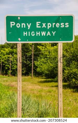 Sign for the Pony Express Highway in Kansas