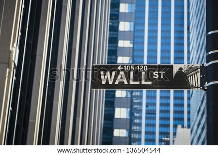 Sign for Wall Street in New York City - stock photo
