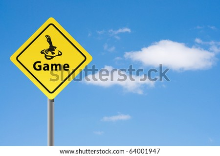 Sign game joystick sky background. - stock photo