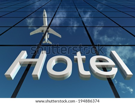 sign hotel - stock photo