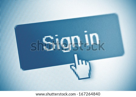 Sign in button on computer screen - stock photo