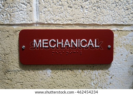 "Sign in english and braille that says, ""MECHANICAL"""