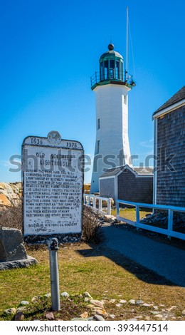 Sign in front of the Old Scituate Lighthouse.