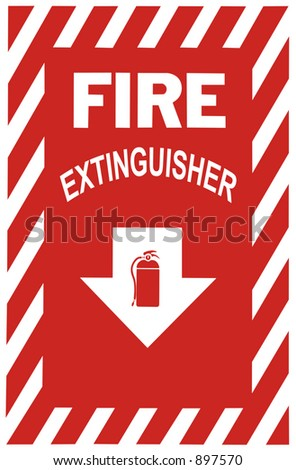 Sign indicating a fire extinguisher is below.