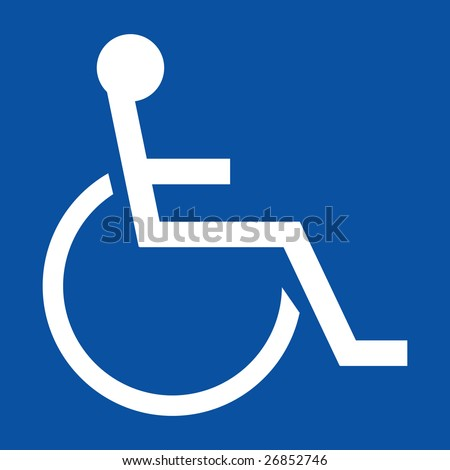 Sign indicating a handicapped person in white on a blue background - stock photo