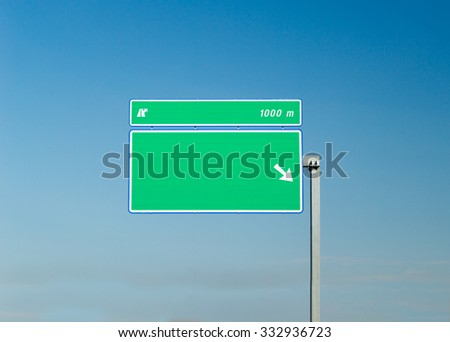 sign isolated on a highway with sky backgraund