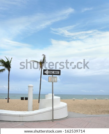 Sign No Skateboards Bicycles Skates and One Way Sign Fort Lauderdale Beach on A1A - stock photo