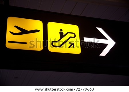 sign of airport at dark night - stock photo