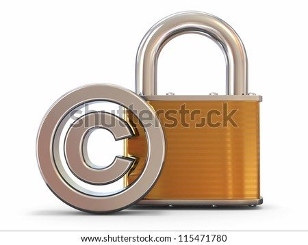 Sign of copyright with padlock on white background. 3d - stock photo