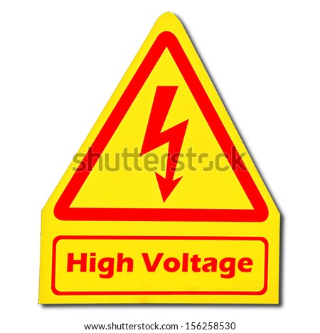 Sign of danger of electricity from high voltage isolated on white background - stock photo