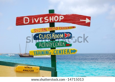 Sign of Dive Vacation Choices - stock photo
