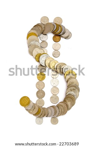 Sign of dollar from coins