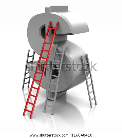Sign of dollar with ladders, concept success - stock photo