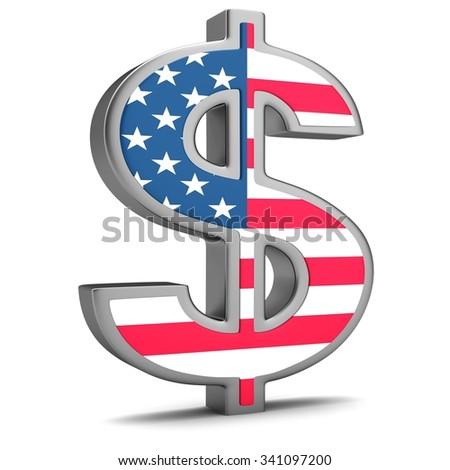Sign of dollarwiyh USA flag isolated on white background - stock photo