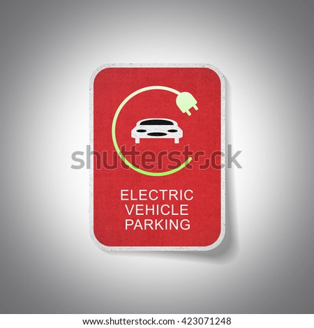 Sign of electric vehicle parking - stock photo