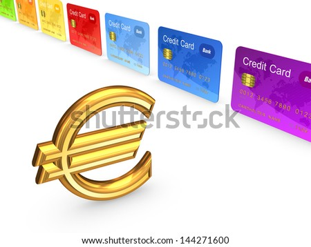 Sign of euro and colorful credit cards.Isolated on white.3d rendered. - stock photo