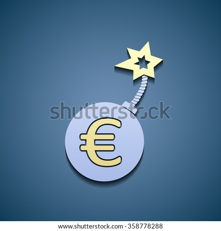 Sign of euro currency on a bomb. Stock illustration. - stock photo