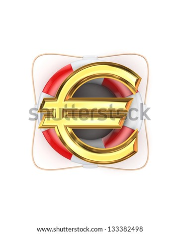 Sign of euro on lifebuoy.Isolated on white background.3d rendered. - stock photo