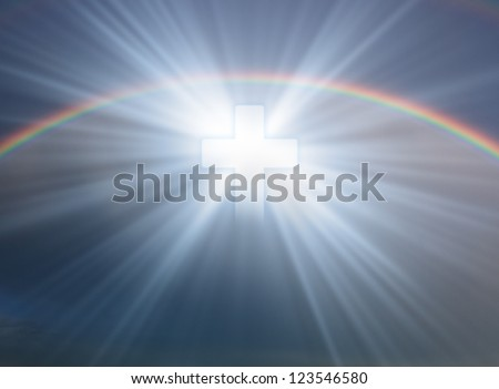 Sign of faith. Cross in sky with rainbow - stock photo