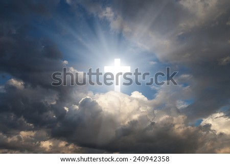 Sign of faith. Cross in the sky - stock photo