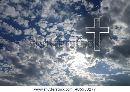 Sign of faith. Cross in the sky
