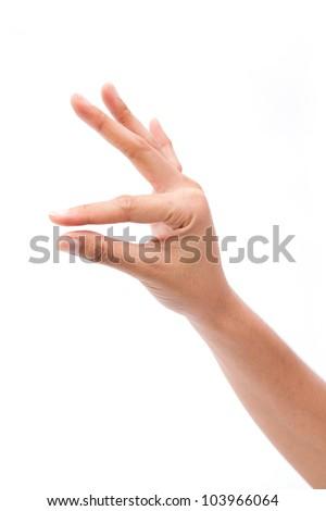 Sign of hand picking up something, isolated on white background - stock photo