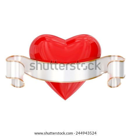 Sign of heart with ribbon isolated on white - stock photo