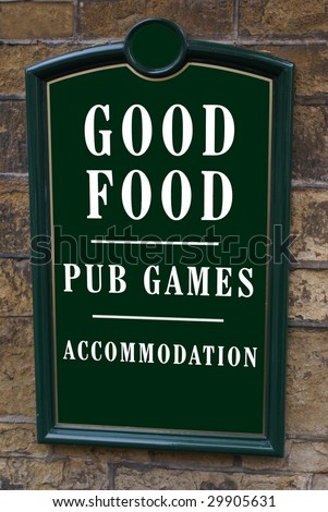 Sign of hotel or a place with restaurant, pub, & accommodation - stock photo