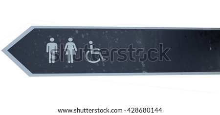 Sign of public toilets, men lady and wheelchair in white background - stock photo
